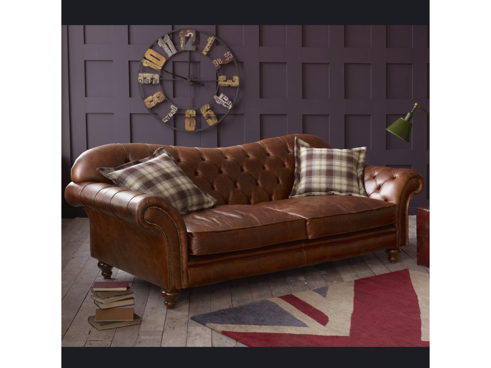The Crompton Vintage Brown Leather Chesterfield Sofa